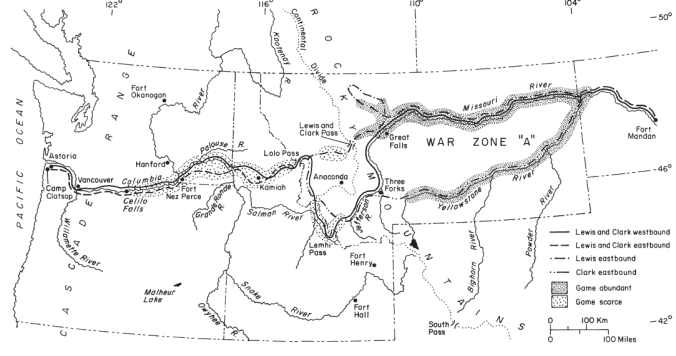 War-Zone Refuge along the Lewis and Clark 1805-6 route. Source: Martin & Szuter, 1999